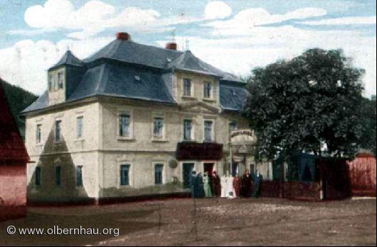 Jankes Weinstube in Böhmisch-Grünthal um 1900